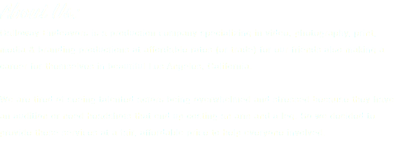About Us: Galloway Endeavors is a production company specializing in video, photography, print, media & branding productions at affordable rates (or trade) for our friends also making a career for themselves in beautiful Los Angeles, California. We are tired of seeing talented actors being overwhelmed and stressed because they have an audition or need headshots that end up costing an arm and a leg. So we decided to provide these services at a fair, affordable price to help everyone involved.
